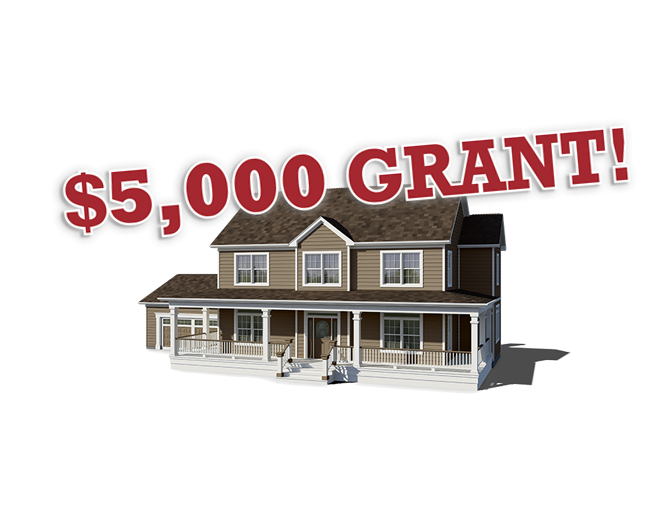 A house with '$5,000 Grant!' copy above it.